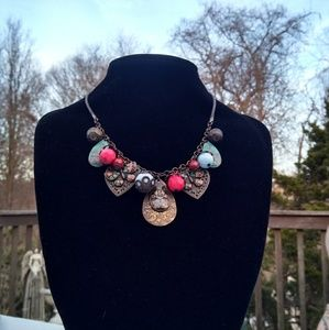 Vintage Enameled Butterfly & Multi Charm Necklace